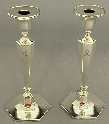 Tiffany & Co. Rare Pair of Hexagon Base Candlesticks Sterling Silver c.1907-47