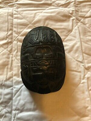 Antique Egyptian Hand Carved Scarab Beetle Paperweight Hieroglyphics Black stone