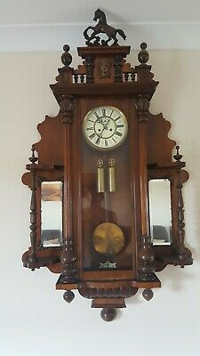 Antique Twin Weight Vienna Wall Clock in good working order collection only