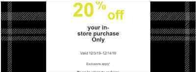 Target 20% Off Storewide purchase In-Store Only Coupon - Not Online