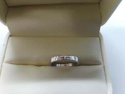 Tiffany & Co. Sterling Silver (I Love You) Ring Size 5 Stacking Band Ring