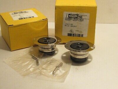 New (Lot Of 2) Hubbell 7468 2P 15A 125V Midget Twist-Lock Flanged Receptacle