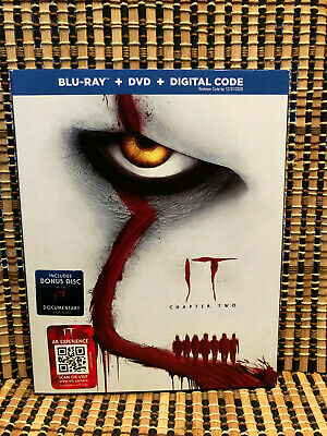 Stephen King's IT: Chapter Two (3-Disc Blu-ray/DVD, 2019)+Slipcover.Pennywise