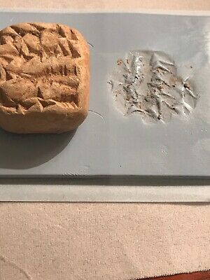 VERY RARE ANCIENT NEAR EASTERN CLAY TABLET WITH EARLY FORM OF WRITING C. 3500bc