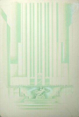 Boris Artzybasheff ORIGINAL DRAWING Rockefeller Center Machine Modern Art Deco