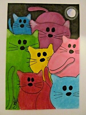 ACEO Original Cat Cats at Night Moon Colored Pencil Ink Art 2014 by njbeanie24