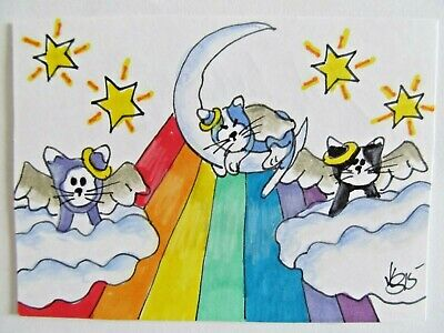 ACEO Original Cat Kitty Heaven Rainbow Bridge Colored Pencil Ink 2015 njbeanie24