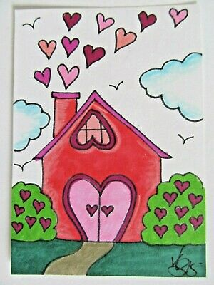 ACEO Original House of Love Red Hearts Colored Pencil Ink Art 2015 by njbeanie24