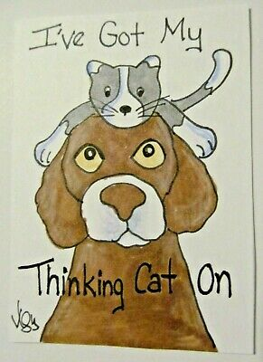 ACEO Original Cat Dog Kitten Thinking Cap Colored Pencil Ink Art 2015 njbeanie24
