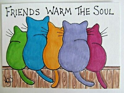 ACEO Original Cat Friends Warm the Soul Fence Colored Pencil Art 2015 njbeanie24