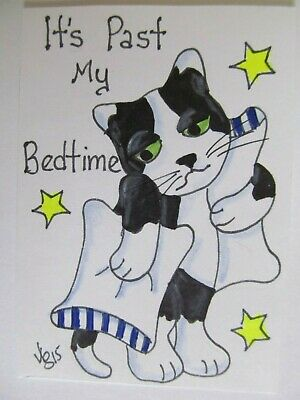 ACEO Original Cat Tired Past Bedtime Colored Pencil Ink Art 2015 by njbeanie24