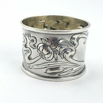 Antique sterling silver napkin ring with flowers and cattails 28.7g