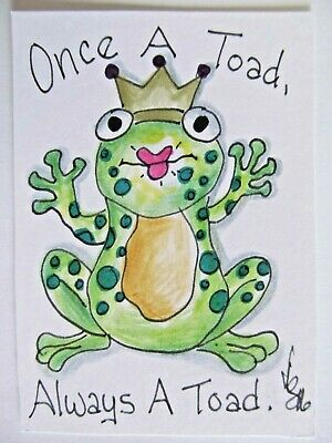 ACEO Original Green Toad Frog Crown Colored Pencil Ink Art 2016 by njbeanie24