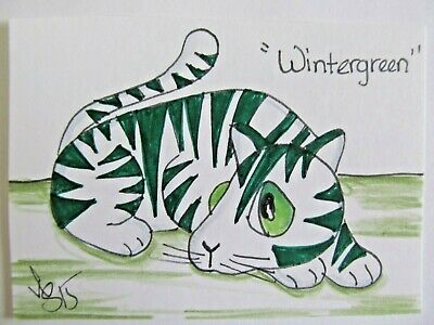 ACEO Original Cat Wintergreen Green Stripe Colored Pencil Ink 2015 by njbeanie24