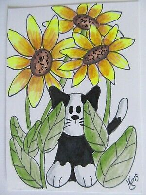 ACEO Original Cat In The Sunflowers Colored Pencil Ink Art 2015 by njbeanie24