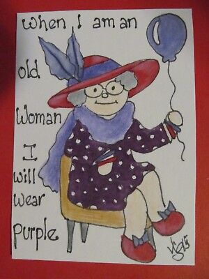 ACEO Original When I am an Old Woman Purple Colored Pencil Ink 2015 njbeanie24