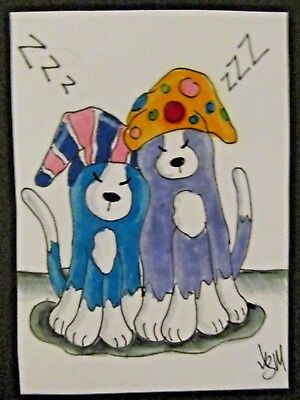 ACEO Original Cat Sleepy Kitties Tired Colored Pencil Ink Art 2014 by njbeanie24