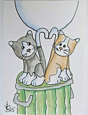 ACEO Original Stray Cat Love Garbage Can Colored Pencil Ink Art 2015 njbeanie24