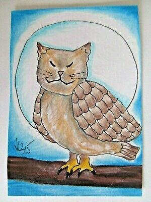 ACEO Original Owl Cat Full Moon Night Colored Pencil Ink Art 2015 by njbeanie24