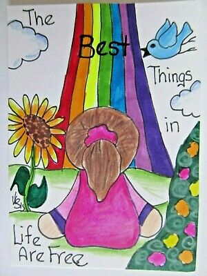 ACEO Original Girl Flowers Rainbow Birds Colored Pencil Ink Art 2015 njbeanie24