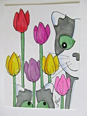 ACEO Original Cats Tulips Spring Flowers Colored Pencil Ink Art 2015 njbeanie24