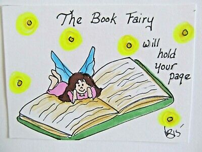 ACEO Original Book Fairy Girl Reading Colored Pencil Ink Art 2015 by njbeanie24