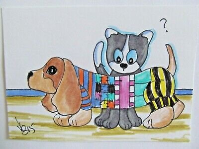ACEO Original Cat Dog Doxie in Sweater Colored Pencil Ink Art 2015 by njbeanie24