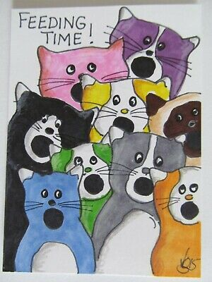 ACEO Original Cat Kittens Feeding Time Colored Pencil Ink Art 2015 by njbeanie24
