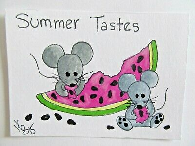 ACEO Original Mice Watermelon Summer Colored Pencil Ink Art 2015 by njbeanie24