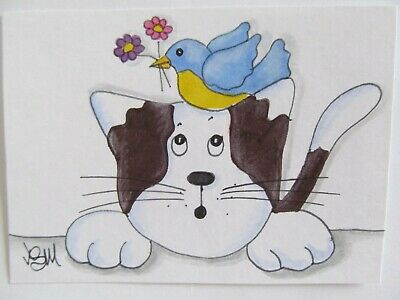 ACEO Original Cat Bird Spring Flowers Colored Pencil Ink Art 2015 by njbeanie24