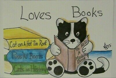 ACEO Original Cat Loves Books Reading Colored Pencil Ink Art 2015 by njbeanie24