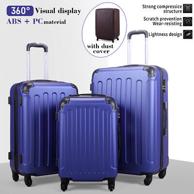 3 Piece Luggage Set Travel Trolley Suitcase ABS+PC Nested Spinner w/ Cover Blue