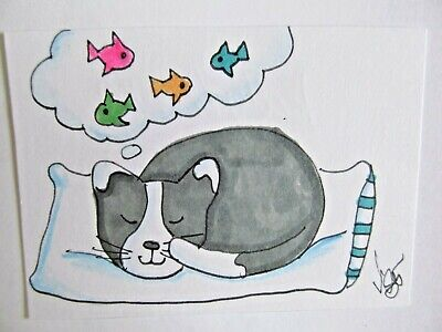 ACEO Original Cat Kitty Dreams Fish Colored Pencil Ink Art 2015 by njbeanie24