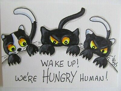 ACEO Original Black Cats Wake Up Hungry Colored Pencil Ink Art 2015 njbeanie24