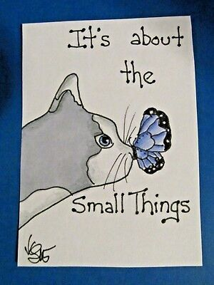 ACEO Original Cat Butterfly Small Things Colored Pencil Ink Art 2015 njbeanie24
