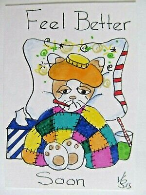 ACEO Original Cat Sick Feel Better Soon Colored Pencil Ink Art 2015 njbeanie24