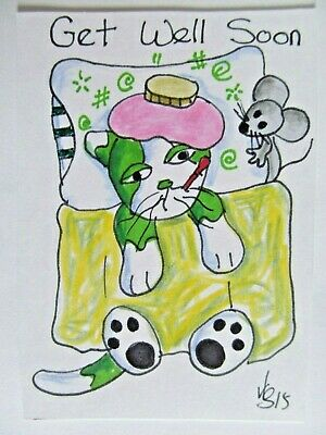 ACEO Original Cat Sick Get Well Soon Mouse Colored Pencil Ink 2015 by njbeanie24