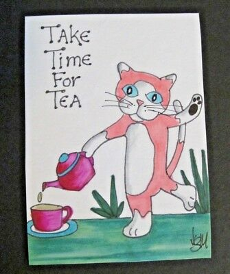ACEO Original Cat Take Time for Tea Colored Pencil Ink Art 2014 by njbeanie24