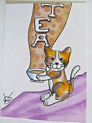 ACEO Original Cat Cup of Tea Kitty Colored Pencil Ink Art 2015 by njbeanie24