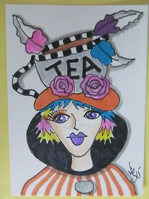 ACEO Original Tea Hat Girl Woman Cup Colored Pencil Ink Art 2015 by njbeanie24