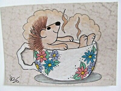 ACEO Original Hedgehog Cup of Tea Bath Colored Pencil Ink Art 2015 by njbeanie24