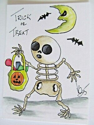 ACEO Original Halloween Skeleton Trick Treat Colored Pencil Ink 2015 njbeanie24