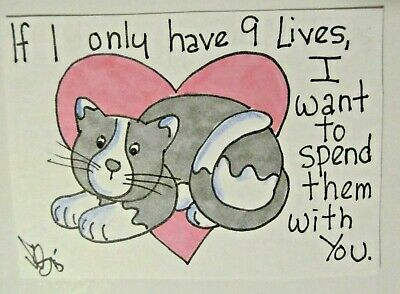 ACEO Original Cat Kitten 9 Lives Heart Colored Pencil Ink Art 2015 by njbeanie24
