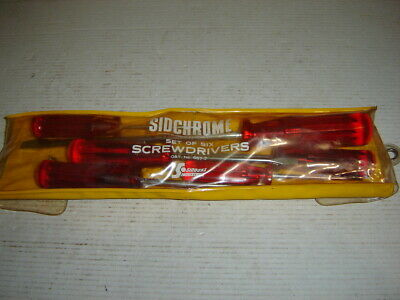 6 Vintage Sidchrome Screwdriver in Sidchrome / Siddons Pouch - Australian Made.