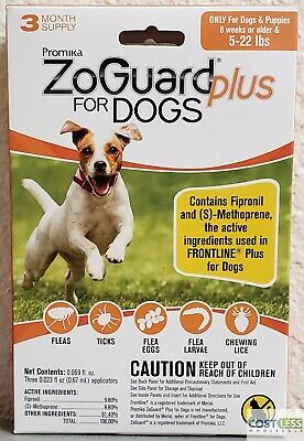 ZoGuard Plus Flea & Tick Treatment Dogs 5-22 lbs 3 Month Supply