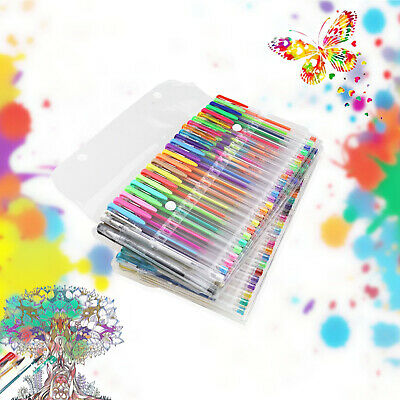 100 Pcs Gel Pen Set Color Art Glitter Pens Neon Coloring Ink Colors Metallic