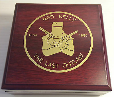 """""""NED KELLY"""" Last Stand 1oz Coin With Display Box Finished in 999 24k Gold LTD #1"""