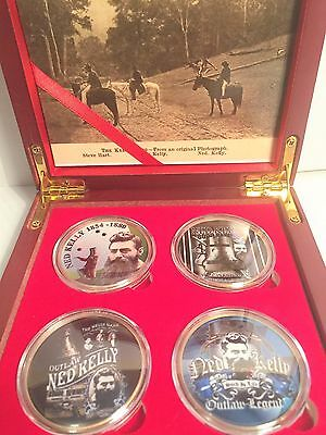 """""""NED KELLY"""" Outstanding Boxed Set of 4 Col/Printed 999 24k Gold plated coins #2"""