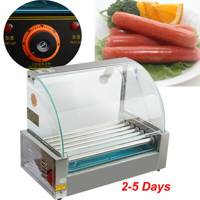 Commercial 18 Hot Dog Hotdog 7 Roller Grill Cooker Machine W/ cover Stainless