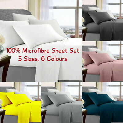 1000TC Ultrasoft Microfibre Fitted Sheet Set, 5 Sizes, 6 Colours, Free Postage
